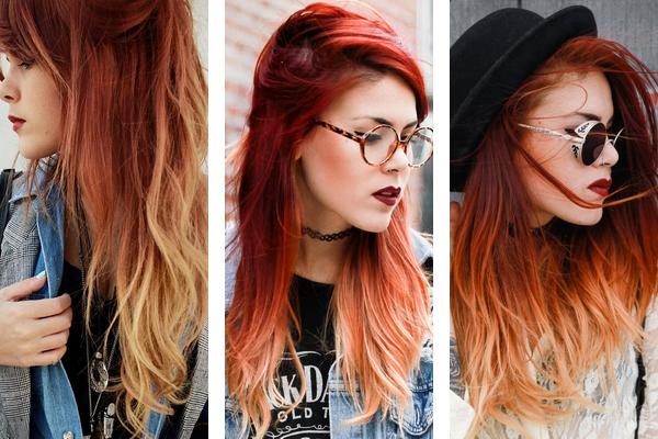 estilos de ombré hair em vermelho