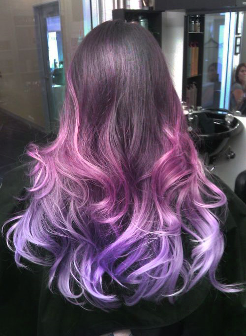 Mechas californianas roxo e rosa