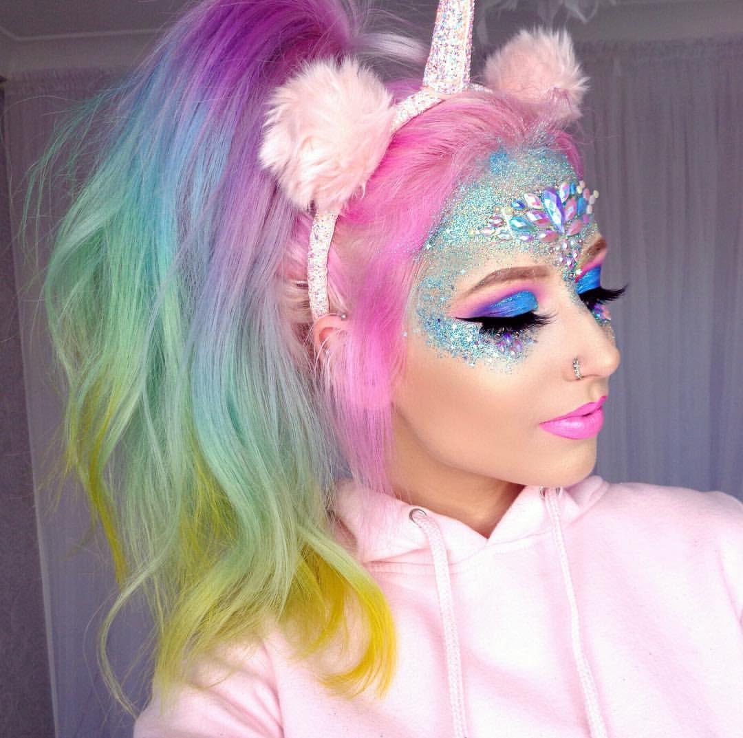 maquiagem de carnaval de unicórnio