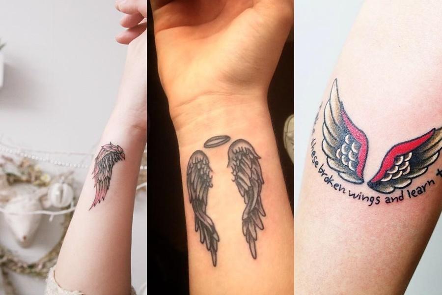 tatuagem de asas no braço