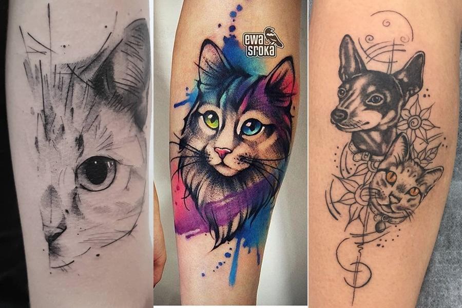 tatuagens femininas no braço de gato e cachorro
