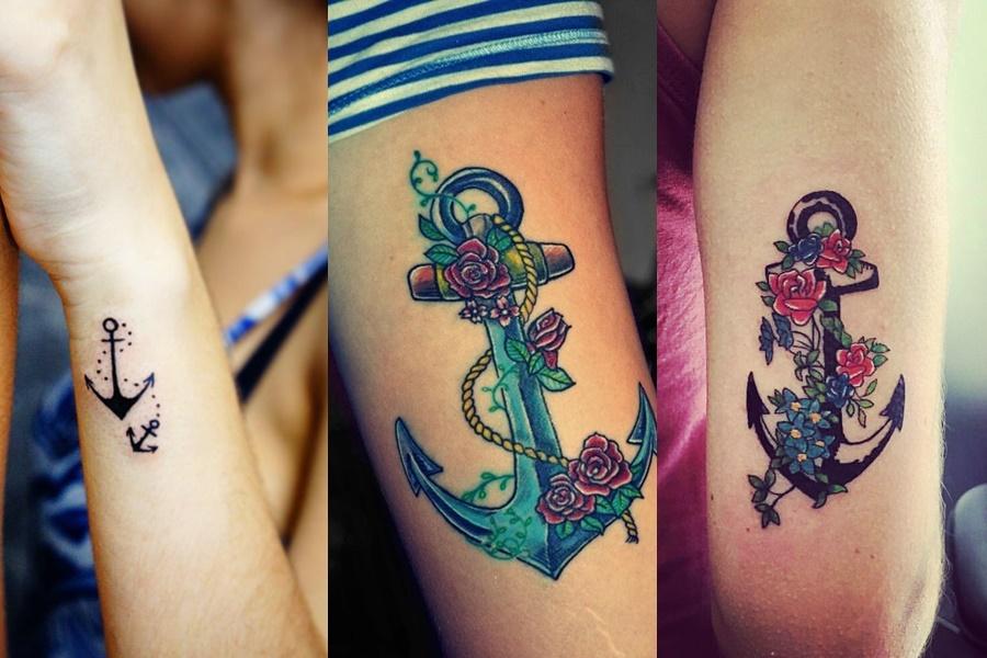 tatuagem de âncora colorida com flores e mais básica