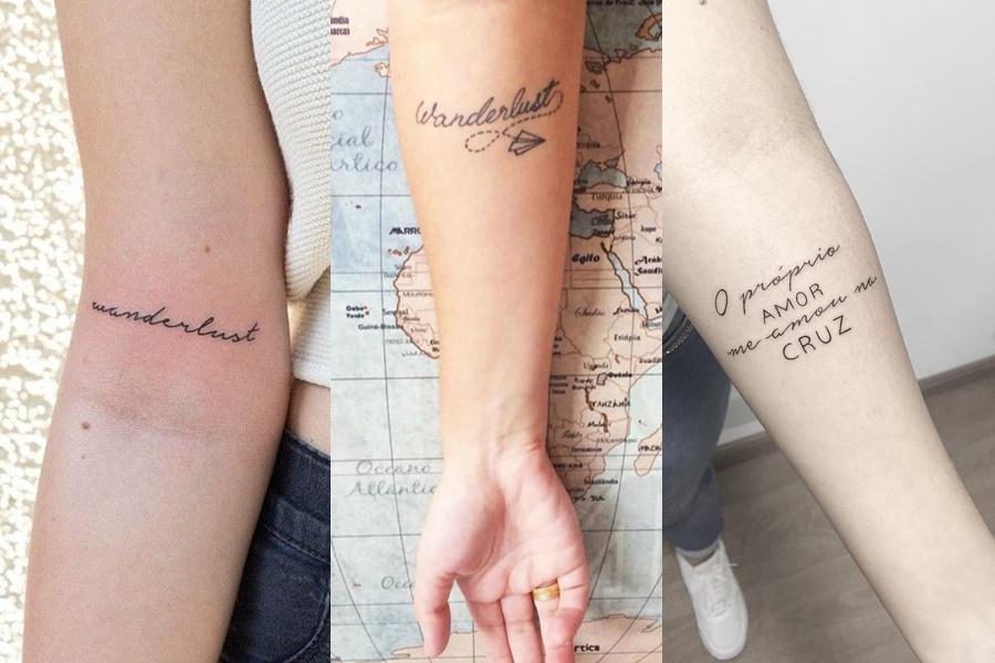 tatuagem no braço com frases