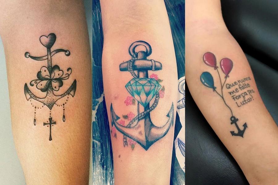 exemplos de tatuagens femininas de âncora nos braços