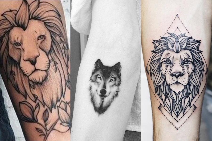tatuagens femininas no braço de leão e lobo