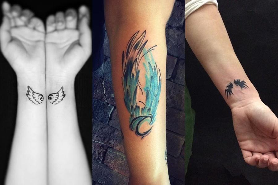 3 modelos de tatuagens de asas, uma colorida e as outras básicas em preto