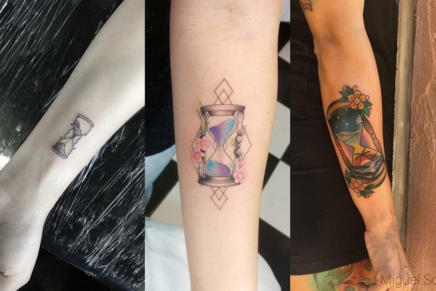 3 tatuagens de ampulheta colorida e básica