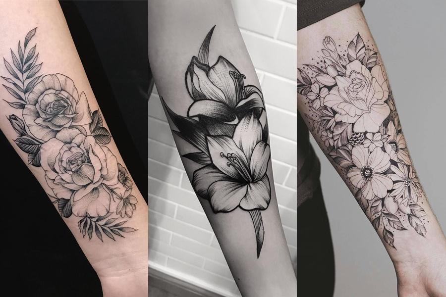 tatuagens de flores no braço sem ser coloridas