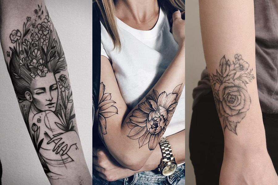 tatuagens de flores e outros elementos no braço