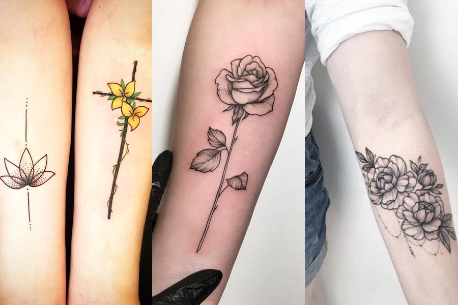 rosas e outros estilos de flores tatuadas no braço