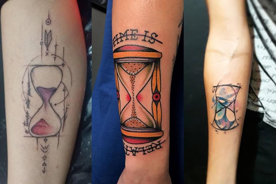 tattoo de ampulheta colorida no braço