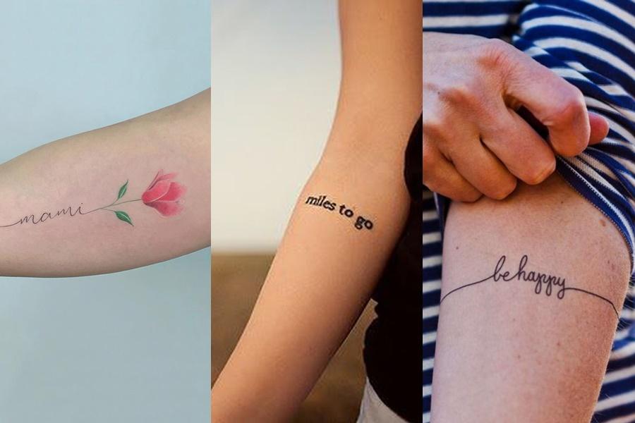 três exemplos de tatuagens delicadas de frases escrita no braço