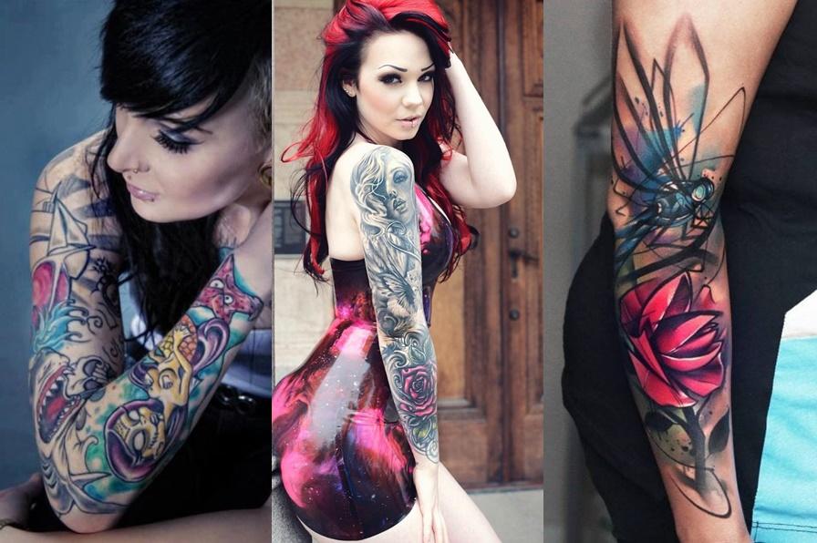 3 exemplos de mulheres com tatuagens no braço todo