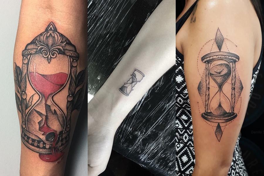 3 exemplos de tatuagens de ampulheta