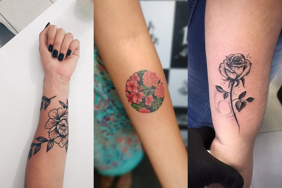 tatuagens de flor colorida ou traços pretos