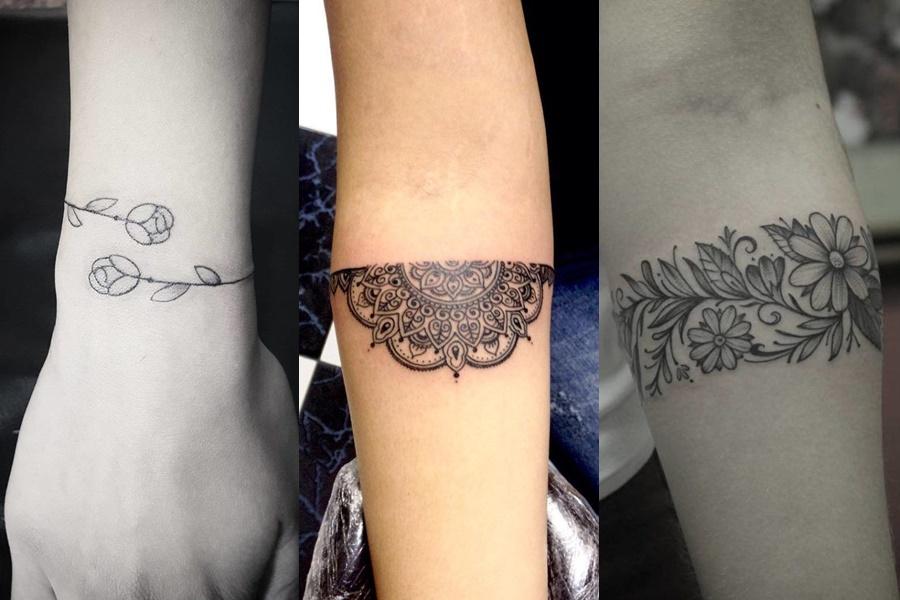flores como tatuagem bracelete