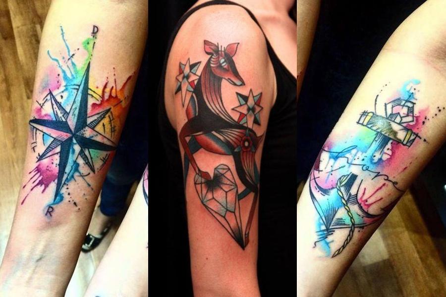 tatuagem colorida no braço