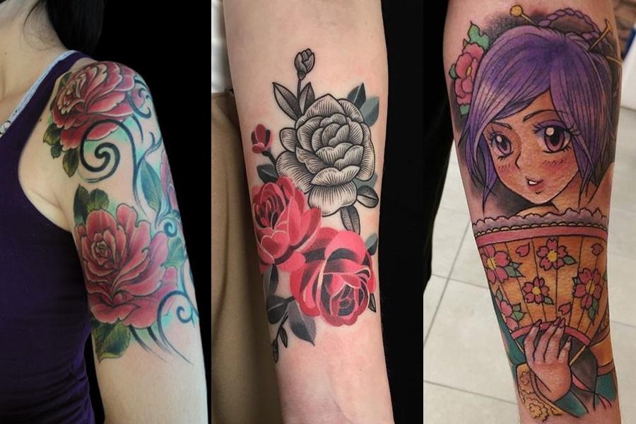 tatuagens femininas coloridas no braço