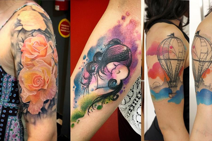 3 exemplos de tatuagens femininas coloridas para fazer no braço