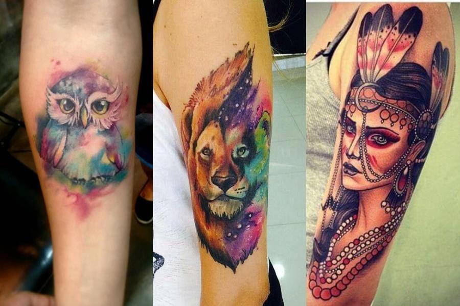 3 exemplos de tatuagens femininas coloridas (coruja, leão e india)