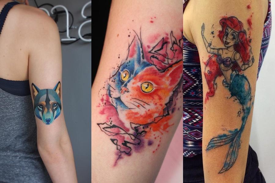 tatuagens coloridas de animais e a pequena sereia