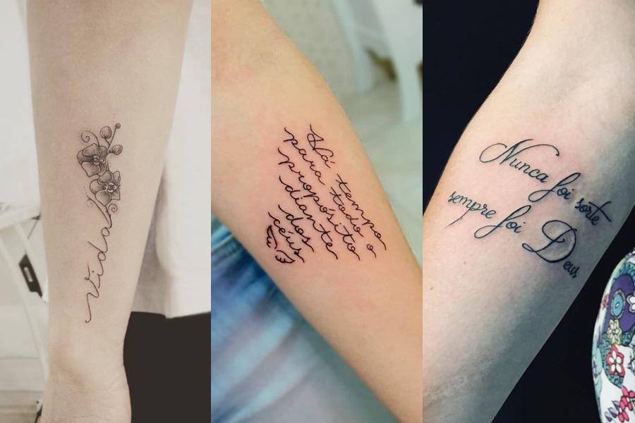 tattoo de frases escritas no braço