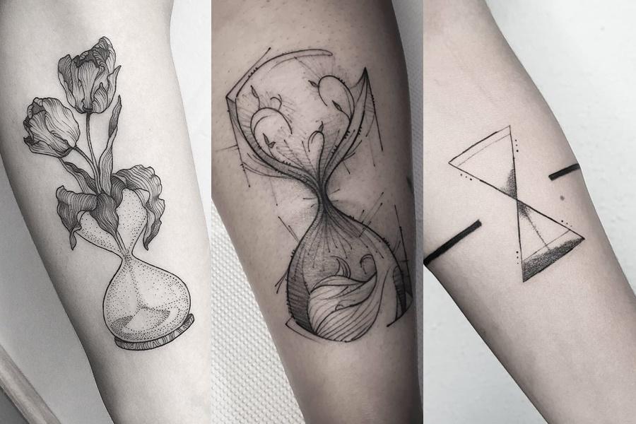 tatuagens no braço de ampulheta