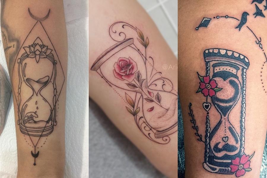 diferentes tatuagens de ampulheta