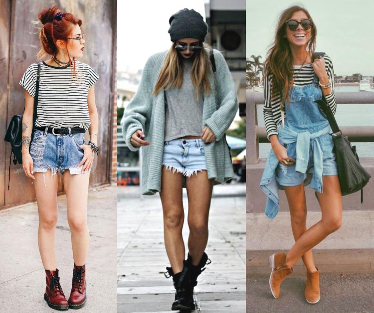 bota de cano curto com shorts