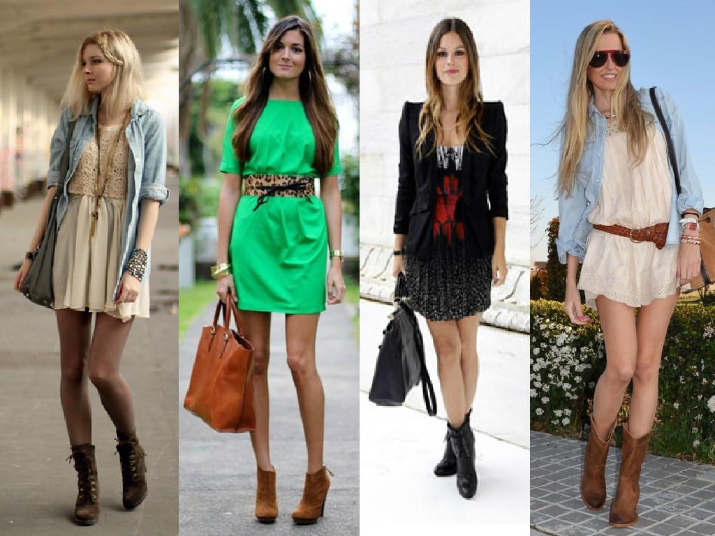 botas de cano curto com vestido
