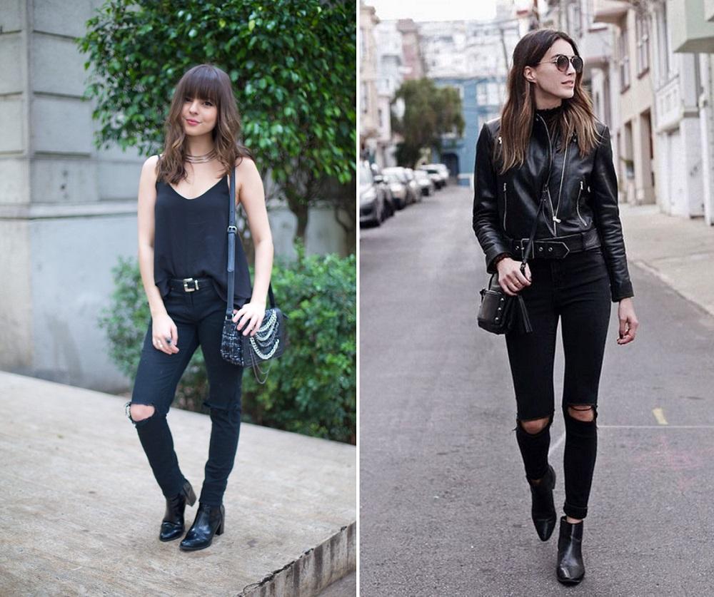 Vestido jeans com bota preta