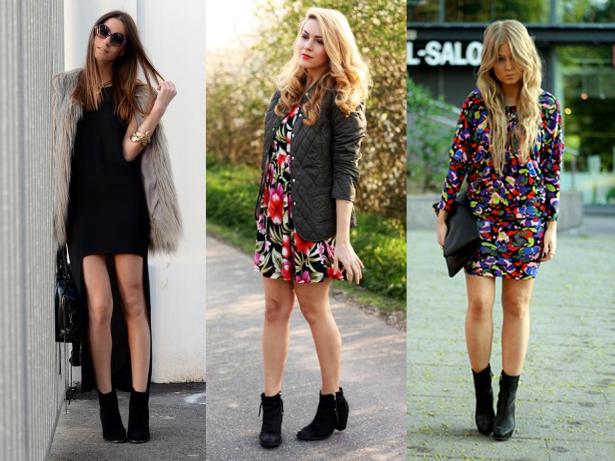 mulheres usando vestidos de inverno com bota