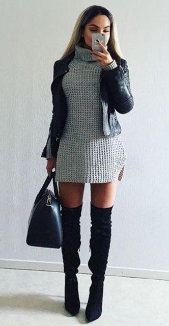 mulher usando vestido de lã cinza no inverno para festa