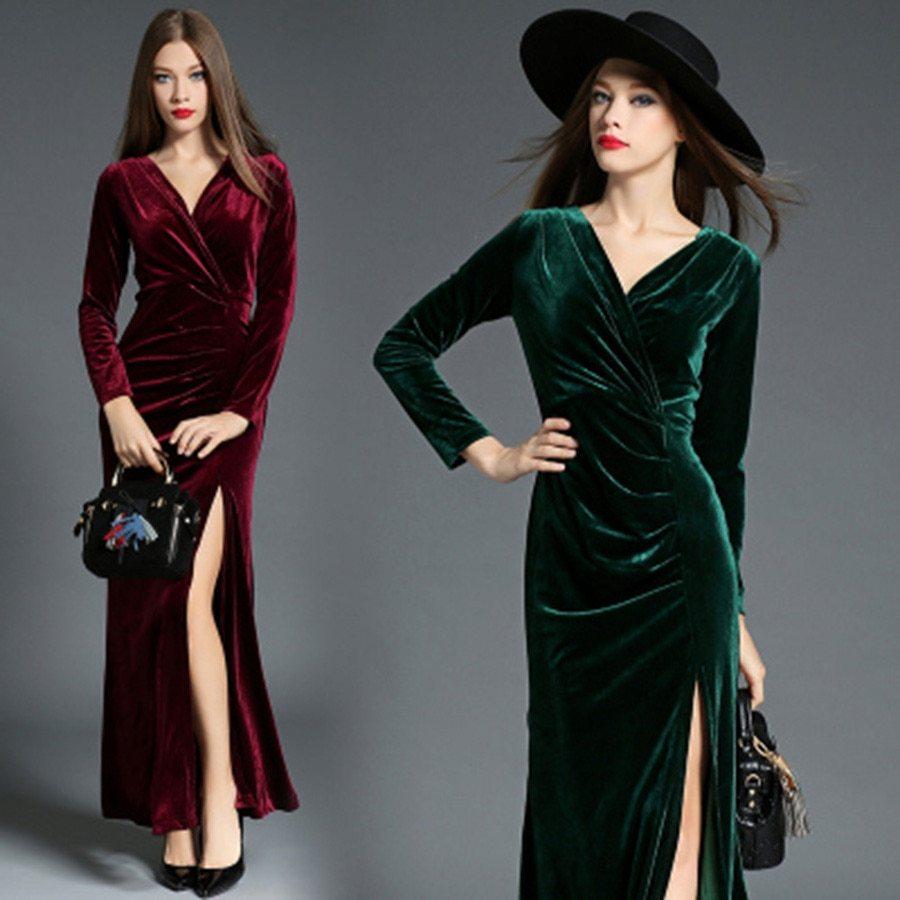 mulheres usando vestidos de frio vermelho e verde de veludo para festa