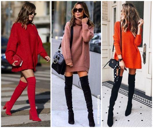 mulheres usando vestido de frio de lã com bota over knee