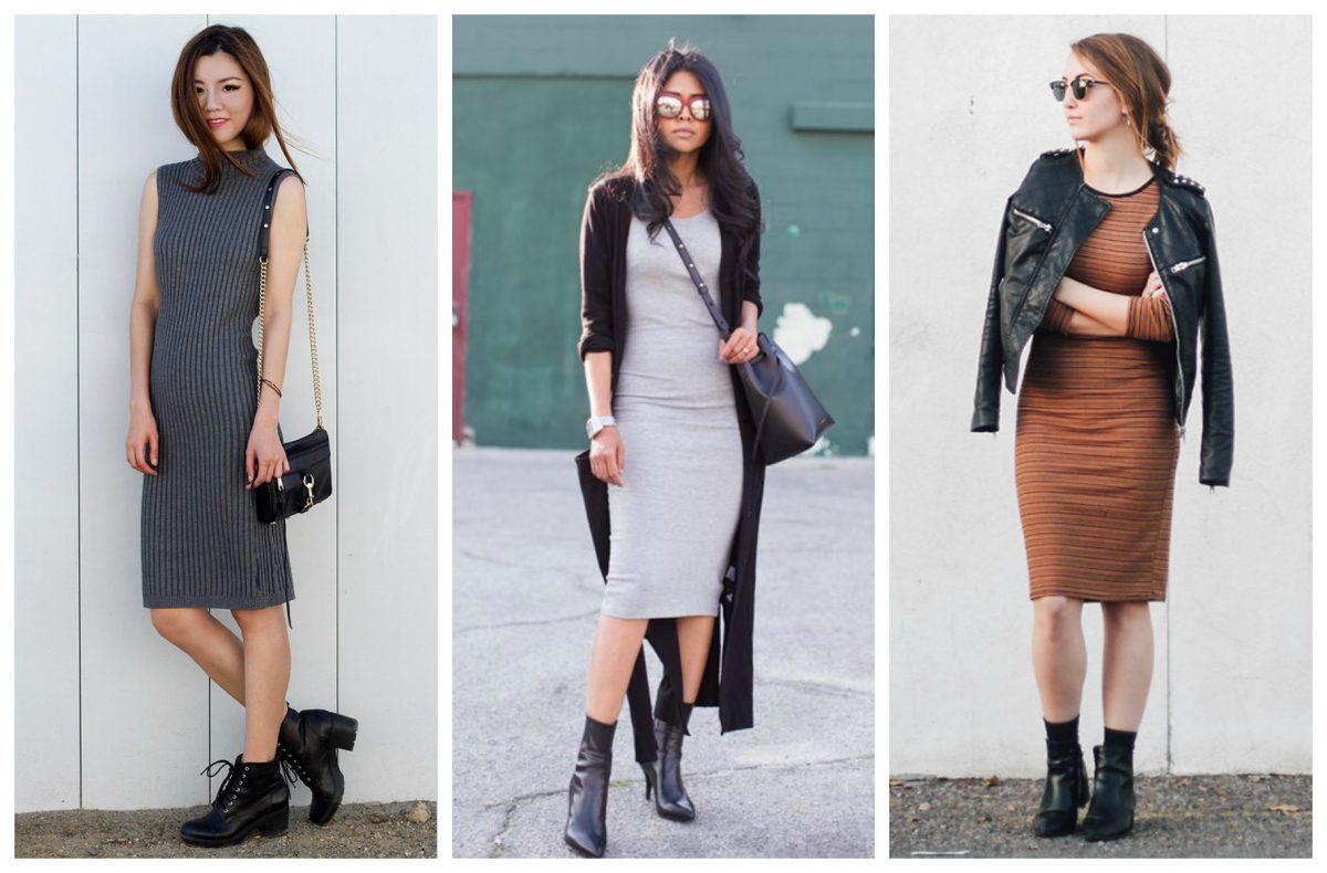 mulheres usando vestidos de frio com bota