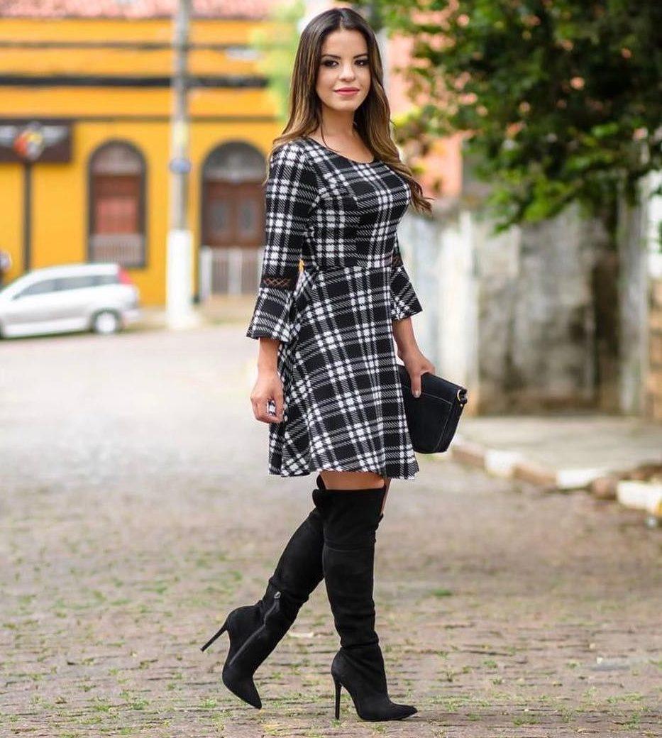 vestido de inverno xadrez