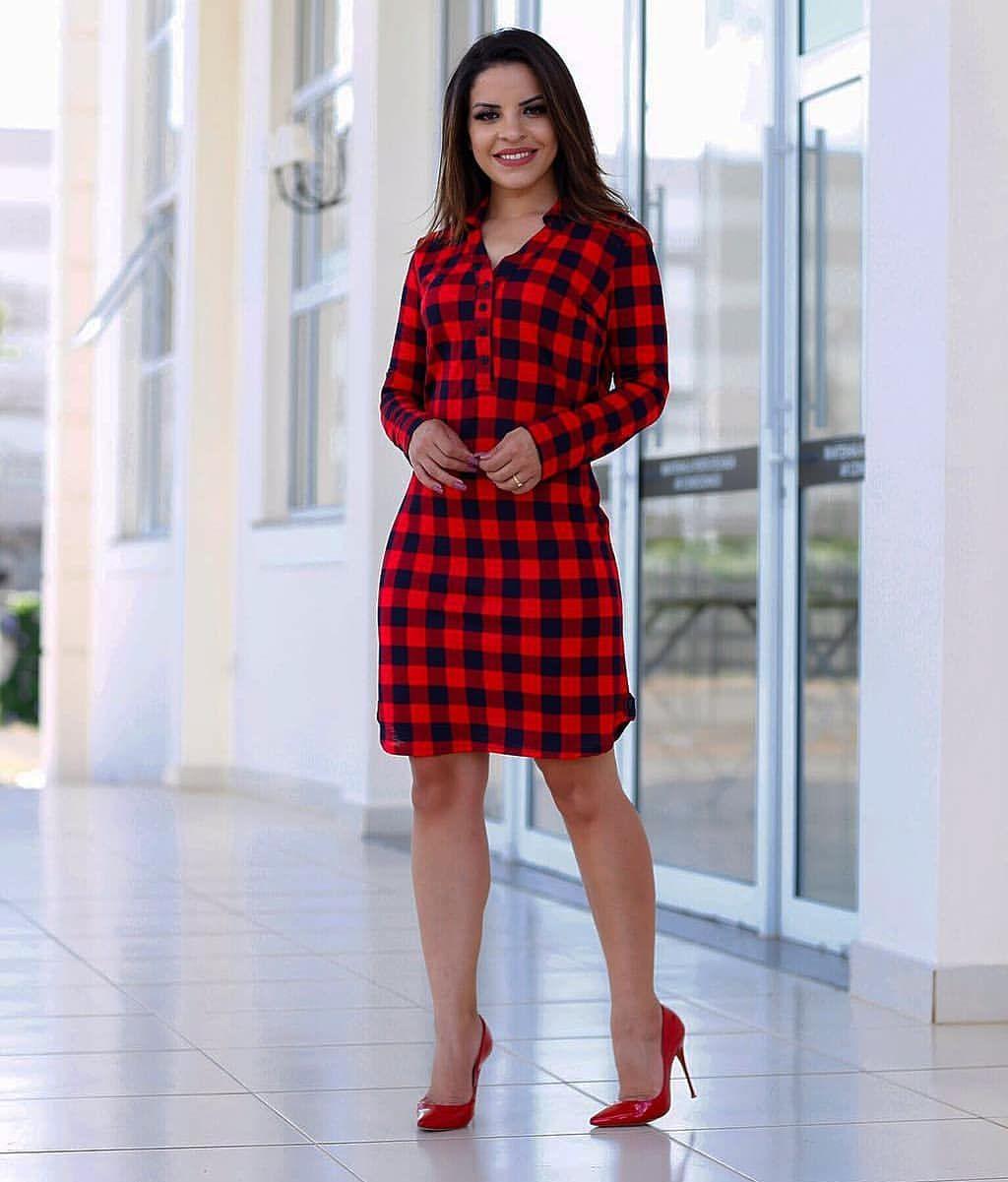 mulher usando vestido de frio 2019 xadrez