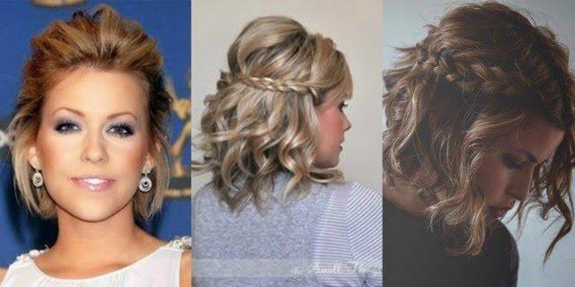 Penteados para cabelos curtos cacheados com tranças prendendo