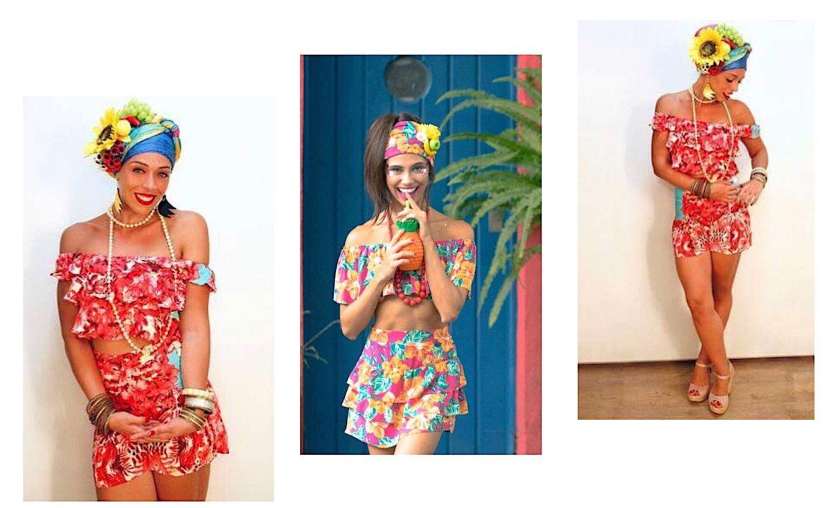 fantasia feminina de baiana com flores e estampas coloridas