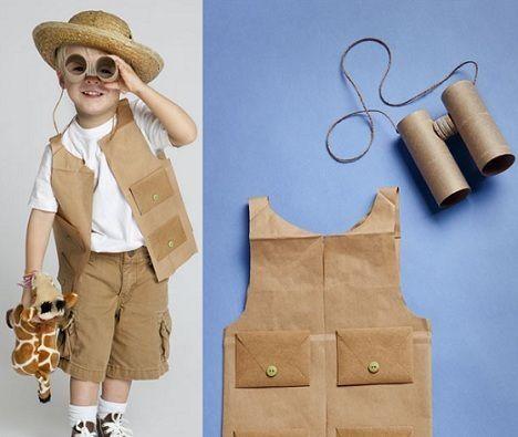 criança vestindo fantasia safari de carnaval