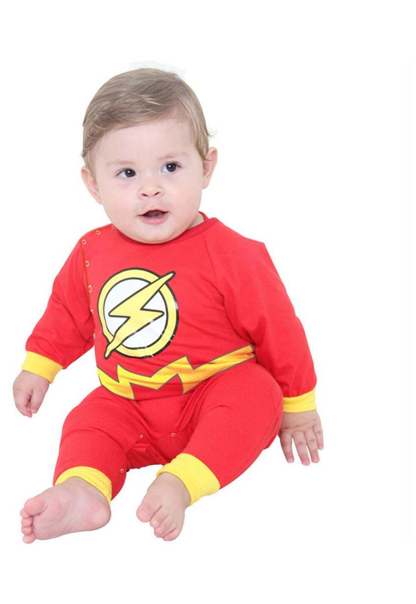 bebe usando fantasia de carnaval para bebes do flash