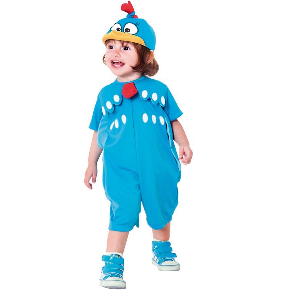 criança usando fantasia de carnaval para bebes de um ano da galinha pintadinha