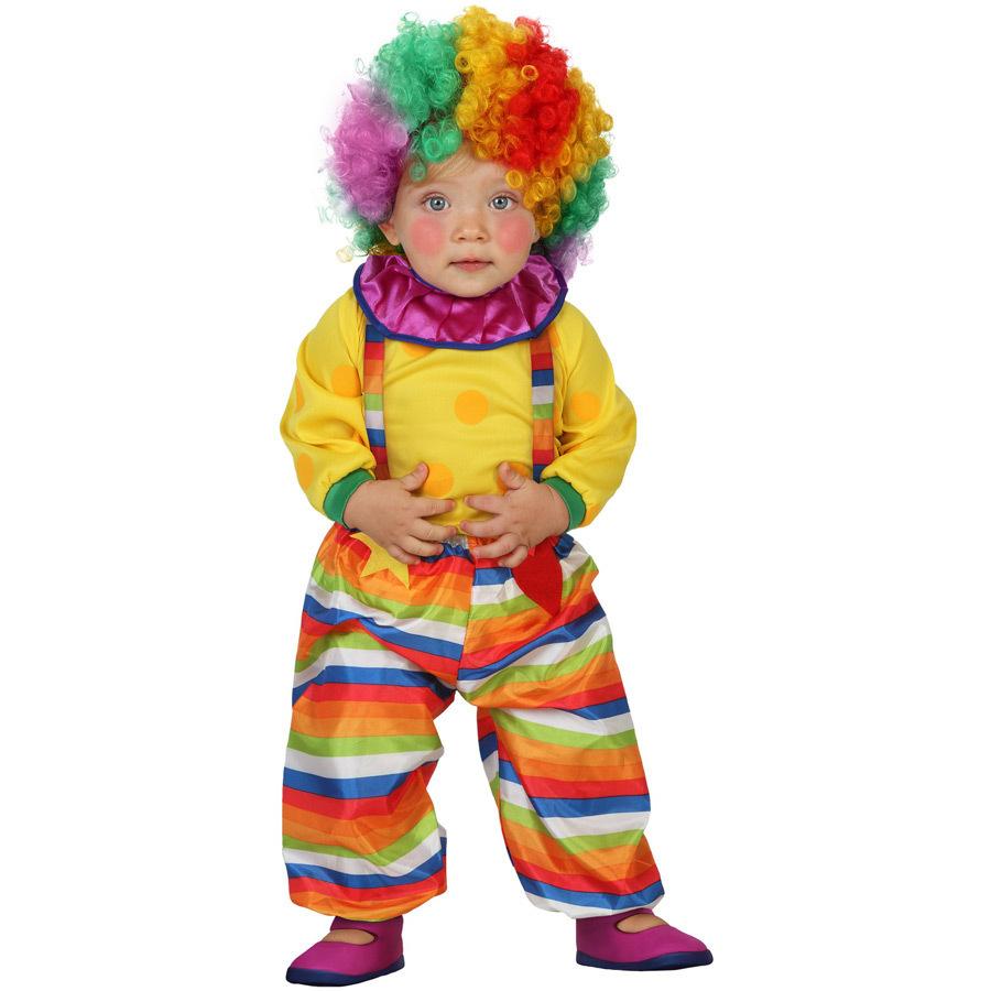bebe usando fantasia de carnaval de palhaço