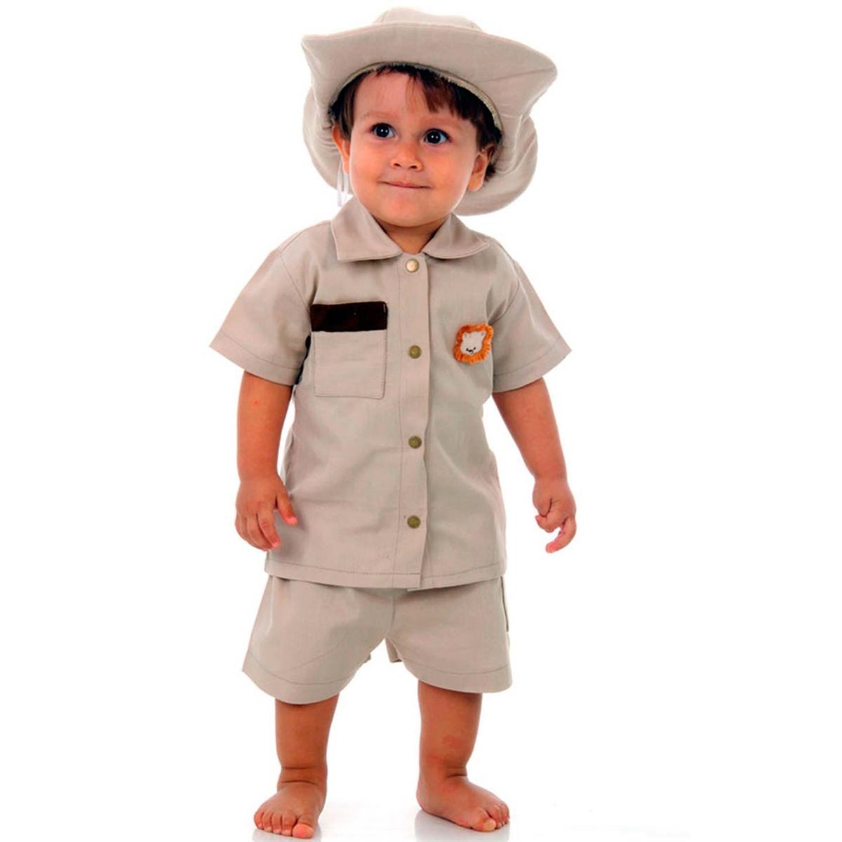 bebe usando fantasia de carnaval para bebes do safari