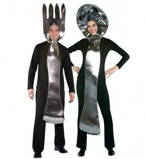 fantasia de casal criativa de garfo e faca
