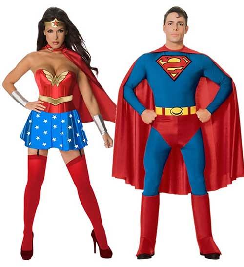 fantasia para casal super homem e mulher maravilha