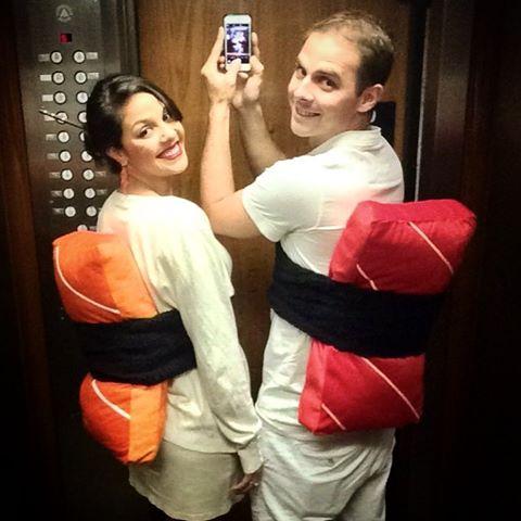 fantasia de casal de sushi