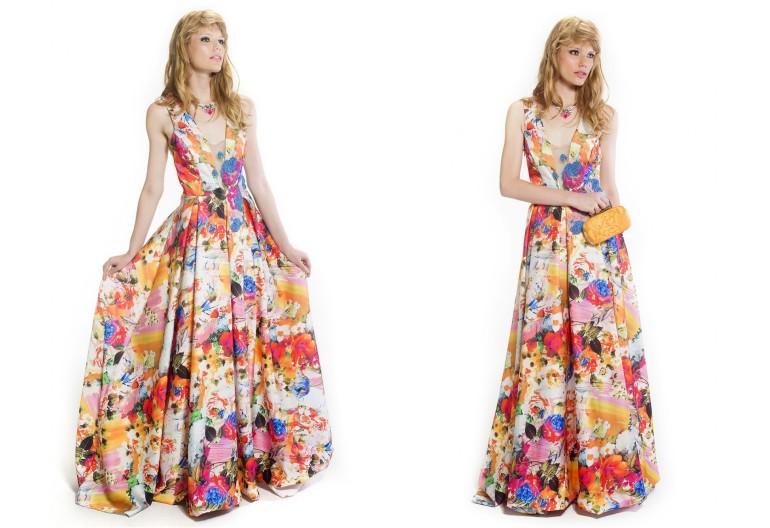 modelo de vestido longo estampado para casamento