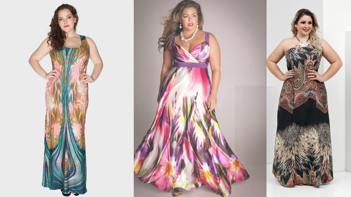 modelo de vestido longo estampado plus size